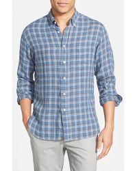 Billy Reid - Blue 'rosedale' Standard Fit Plaid Linen Sport Shirt for Men - Lyst