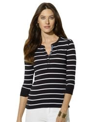 Lauren by Ralph Lauren | Black Long Sleeved Striped Crewneck Henley | Lyst