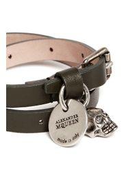 Alexander McQueen | Green Skull Charm Double Wrap Leather Bracelet | Lyst