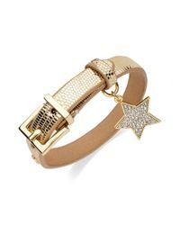 Juicy Couture Metallic Goldtone Crystal Star Leather Bracelet