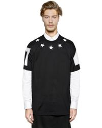 Givenchy Black Cuban Star Patches Jersey T-shirt for men