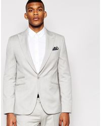 ASOS Gray Slim Fit Suit Jacket With Wide Lapel - Grey for men