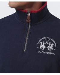 La Martina - Blue Contrast Collar Zip Sweater for Men - Lyst