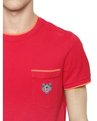 KENZO Tiger Embroidered Cotton Piqué T-shirt for men