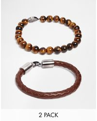 Simon Carter - Brown Imon Carter Tigerseye Beaded Bracelet With Skull Exclusive To Asos for Men - Lyst