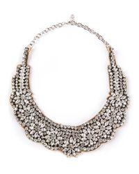 Valentino | Metallic Crystal Flower Necklace | Lyst