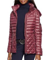 Lauren by Ralph Lauren   Purple Mixed Quilted Down Jacket   Lyst