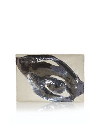 French Connection Natural Eye Dazzle Clutch