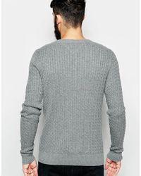 Hilfiger Denim | Gray Cable Jumper In Grey Heather for Men | Lyst