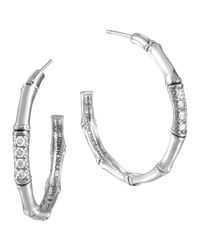 John Hardy | Metallic Bamboo Silver Diamond Medium Hoop Earrings | Lyst