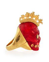 Alexander McQueen - Red Plexi Punk Skull Ring for Men - Lyst