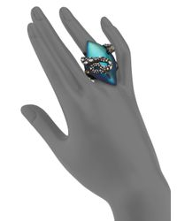 Alexis Bittar Blue Imperial Noir Lucite & Crystal Lace Snake Marquis Ring