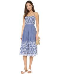 Kendall + Kylie Blue Halter-neck Eyelet Dress