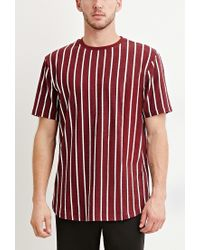 Forever 21 | Purple Striped Cotton Tee for Men | Lyst