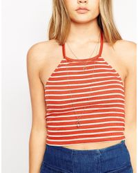 ASOS | Blue Crop Top With Halter Neck In Stripe | Lyst