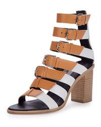 Balenciaga - Brown Buckled Leather Gladiator Sandals - Lyst