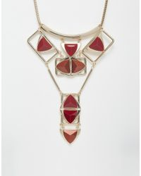 Oasis | Red Multi Triangle Articulated Bib Collar Necklace | Lyst