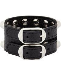 Balenciaga | Black Giant Triple Tour Textured-leather And Silver-tone Bracelet | Lyst