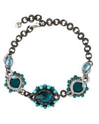 Lanvin - Blue Embellished Serpent Necklace - Lyst