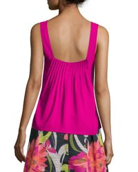 Trina Turk - Purple Sleeveless V-neck Crepe Blouse - Lyst