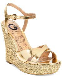 G by Guess Debbra Metallic Espadrille Platform Wedge Sandals
