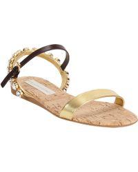 Stella McCartney - Metallic Jeweled Slingback Flat Sandal - Lyst