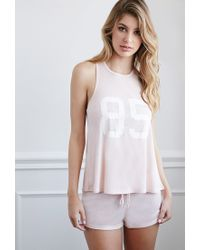 Forever 21 - Pink 85 Graphic Ribbed Pj Set - Lyst