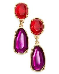 Lauren by Ralph Lauren | Purple Crystal Drop Earrings | Lyst