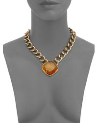 Michael Kors - Metallic Brilliance Botanicals Cushion Chain Necklace - Lyst