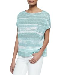 Vince - Blue Striped Short-sleeve Cocoon Top - Lyst