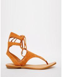 Kendall + Kylie Orange Kendall & Kylie Faris Tan Suede Ghillie Tie Up Flat Sandals
