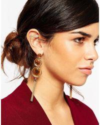 ASOS Brown Tigers Eye 70s Tassel Earrings