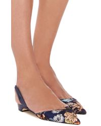 Paul Andrew Multicolor Rhea Botanical Print Pointed Slingback Flats