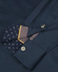 Ted Baker - Blue Satin Stretch Shirt for Men - Lyst