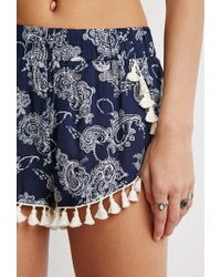 Forever 21 - Blue Tasseled Paisley Tulip-hem Shorts You've Been Added To The Waitlist - Lyst