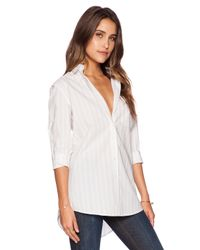 ATM - Natural Awning Stripe Bf Dress Shirt - Lyst