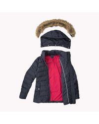 Tommy Hilfiger | Blue Down Hooded Jacket | Lyst