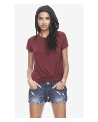 Express Purple One Eleven Knot Front Tee - Berry