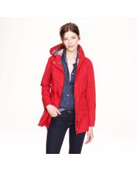 J.Crew Red Barbour Outdoor Hooded Beadnell Jacket
