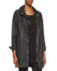 Eileen Fisher - Black Waxed Twill A-line Jacket - Lyst