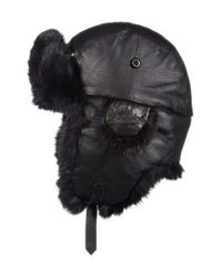 Woolrich | Black Genuine Fur Lined Leather Aviator Cap for Men | Lyst