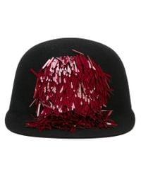 Lanvin - Red Sequin Detail Baseball Cap - Lyst