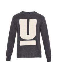 Undercover Gray Big U Cotton And Cashmere-Blend Sweater for men