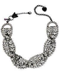 Betsey Johnson | Metallic Black-tone Braided Crystal Drama Necklace | Lyst