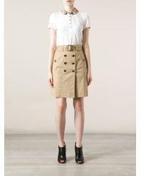 Burberry Brit | White Check Collar Polo Shirt | Lyst