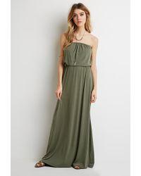 Forever 21 Green Strapless Maxi Dress