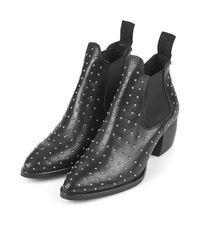 TOPSHOP Black Margot Pinstud Boots