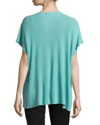 Natori - Blue Draped Short-sleeve Ribbed Sweater - Lyst