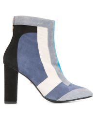 Just Cavalli Blue Color-Blocked Suede Ankle Boots