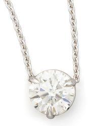Neiman Marcus - Metallic 18K White Gold Diamond Solitaire Pendant Necklace - Lyst